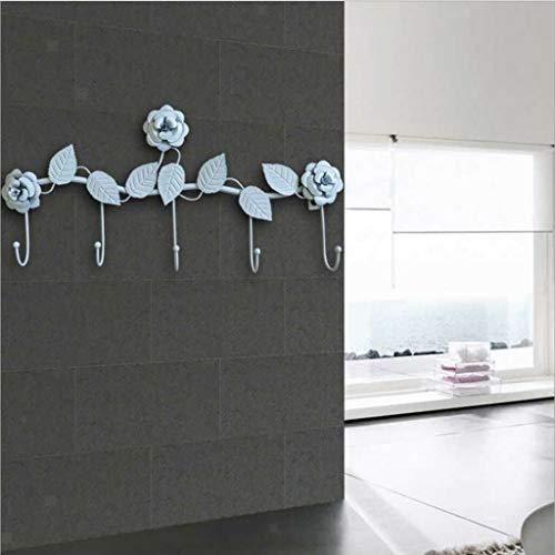 MOPOLIS Wall Hooks Elegant Rose Leaf Over Door Hanger Storage Rack for Livingroom (Color - White)
