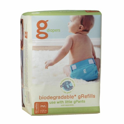 Refill Gdiapers (gDiape Roasted Flushable Refills - Medium/Large - 32 Count)