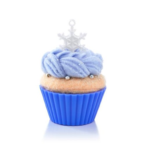 Snowflake felt fabric cupcake shape hanging ornament ice blue silver