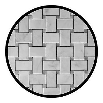 carrara marble italian white bianco carrera basketweave mosaic tile with bardiglio gray dots polished
