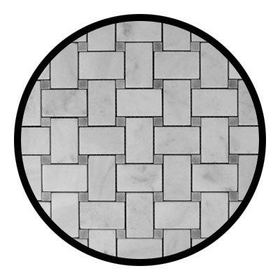 Carrara Marble Italian White Bianco Carrera Basketweave Mosaic Tile with Bardiglio Gray Dots Polished (Bianco Tile Flooring Mosaic)