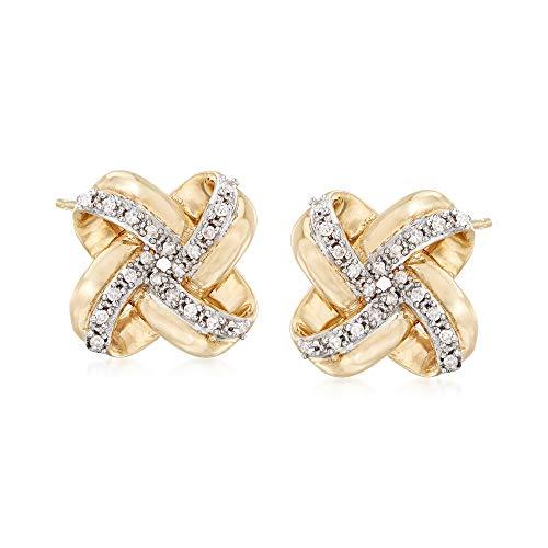 Ross-Simons 0.10 ct. t.w. Diamond Love Knot Stud Earrings in 14kt Yellow Gold