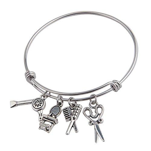 air Stylist Charm Bracelet Hairstylist Graduation Gift (Silver) ()