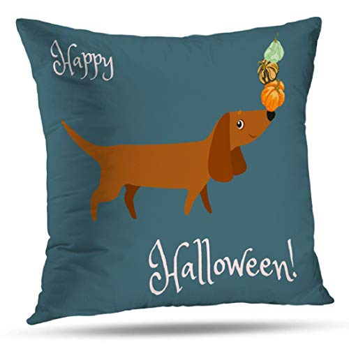 WAYATO Dachshund-Art 18 x 18 inch Decorative Pillow Covers, Postcard Happy Halloween with Dachshund Nose Pumpkins Double-Sided Pattern Pillow Cushion Cover Invisible Zipper for Sofa Bedroom]()