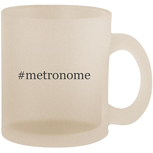 #metronome - Hashtag Frosted 10oz Glass Coffee Cup (Vintage Drum Practice Pad)