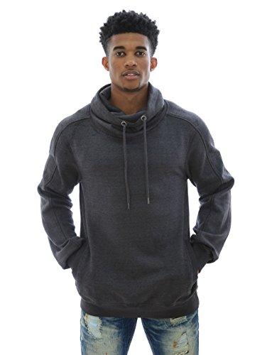 Akademiks Men's Cone Black Out Fleece Funnel Neck Sweatshirt-Charcoal-XL