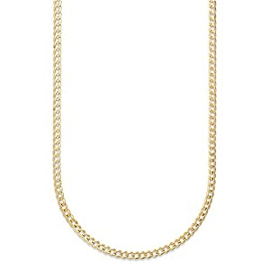 Best Epic Trends 41FKCkhyhmL._SS300_ 14K Gold 2.5MM, 4MM, 5MM, 6.5MM, 7.5MM, 9MM Cuban/Curb Chain Necklace and Bracelet - Made In Italy - Yellow, White, Rose