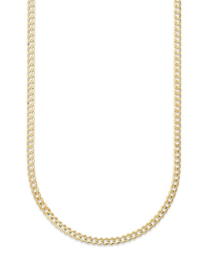 18K Solid Yellow Gold 3.5mm Cuban Curb Link Chain Necklace- Made in Italy-18 Karat ()