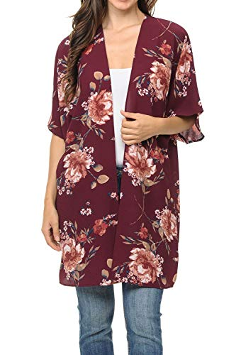 Auliné Collection Womens USA Made Casual Cover Up Cape Gown Robe Cardigan Kimono SWSS1 Vintage FL Wine XL