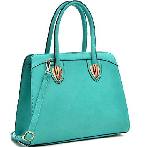 dasein-womens-faux-leather-work-tote-satchel-bag-turquoise