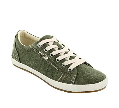 Taos Footwear Women's Star Olive Wash Canvas Sneaker 10 M US