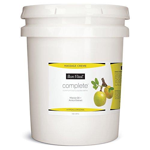 Bon Vital Complete Massage Creme, Premium Dual Purpose Cream for Hypoallergenic Professional Massages, Non Greasy Unscented Moisturizer Made with Marula, Olive, Avocado, Jojoba Oil, 5 Gallons