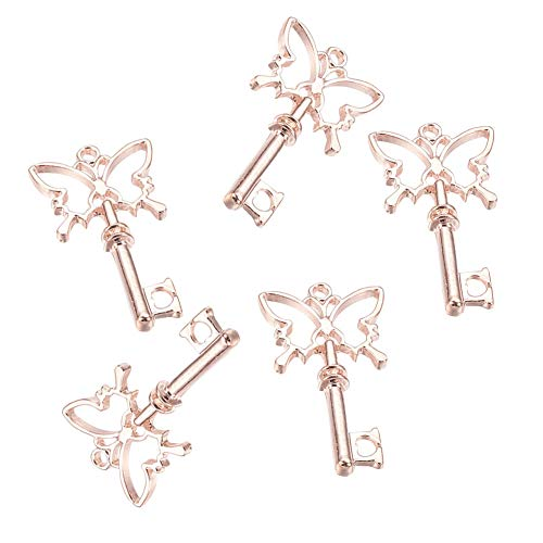 (PandaHall Elite 10 Pcs Alloy Magic Wand Butterfly Key Open Bezel Charm Pressed Flower Blank Frame Hollow Mould Pendants 38x20x3.5mm for UV Resin Crafts Jewelry Making Rose Gold)
