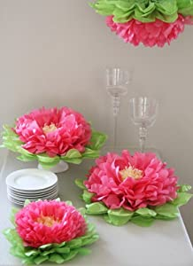 girls party decorations set of 7 pink tissue paper flowers - Tissue Paper Decorations