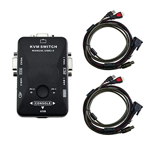 KVM Switch 2 Ports USB KVM VGA Switch Box Adapter, 2 VGA USB Cables for PC Monitor/Computer/Keyboard/Mouse Monitor, Plug and Play by Little World