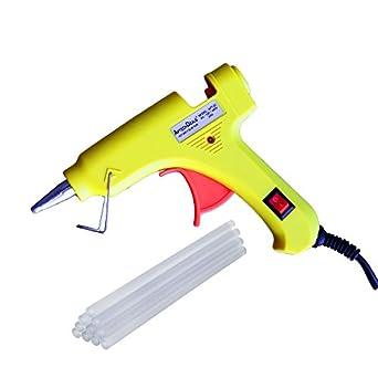 THEMISTO - built with passion Gun with Glue Sticks 20 Watt for Fine Craft and Decoration Work, 7 mm Diameter (Yellow Gun with 5 Sticks)