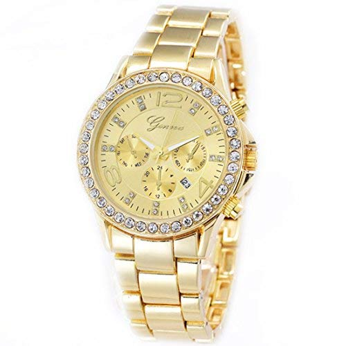 NYKKOLA Luxury Geneva Unisex Crystal Accented Watch Alloy Gold Tone Wrist Watches For Women Men