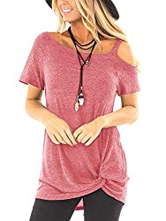 Womens Summer T Shirts One Shoulder Twist Tunic Blouses Workout Tops Soft Pink Xl