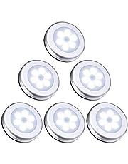 Dewanxin Nachtlampje met bewegingsmelder, 6 leds met bewegingsmelder, automatisch aan/uit nachtlampje, op batterijen, trappenlicht, kastverlichting voor hal, slaapkamer, keuken