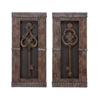 Amazon Com Antique Key Wood Wall Decor Home Amp Kitchen