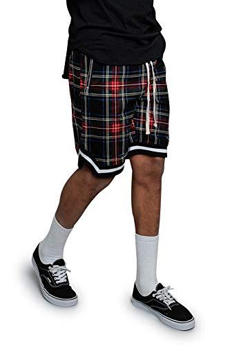 (Victorious Men's Plaid Fog Long Drawstring Striped Hem Athletic Shorts with Zippered Pockets JS23 - Black - X-Large - A7C)