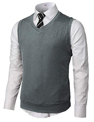 H2H Mens Cotton Blended Knit Vest Charcoal US M/Asia L (CMOV049)