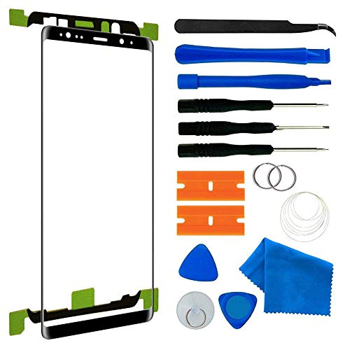 Original Galaxy Note 8 Black Replacement Front Outer Lens Glass Screen Tool Kit/Pre-Cut Sticker/Tweezers / Suction Cup/Wire / Cleaning Cloth Note 8 N950A N950F 6.3 inch(Black)