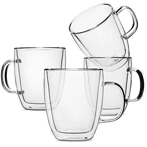 (BTäT- Insulated Coffee Mug, Coffee Glass, Set of 4 (16oz, 500ml), Double Wall Glass Coffee Cups, Tea Cups, Latte Cups, Glass Coffee Mug, Beer Glasses, Latte Mug, Clear Mugs, Glass Cups, Glass Tea Mugs)