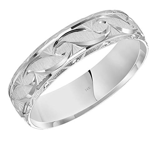 Brilliant Expressions 14K White Gold Comfort Fit Wedding Band with Conflict Free Diamond Cut Wave Motif, 6mm, Size 8.5