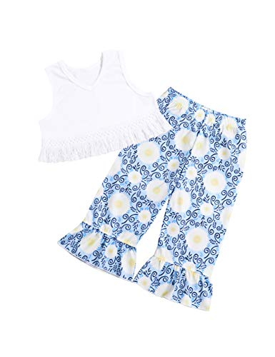 Baby Girls Clothes Sleeveless Tassel Top +Floral Bell-Bottoms Pants Outfits Set 6-12 Months Blue ()