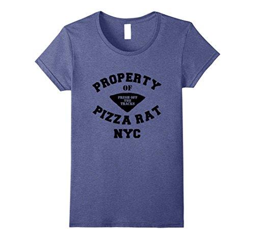 Womens Property of Pizza Rat | Funny NYC Halloween Party Tee Medium Heather Blue (Halloween Shop Nyc)