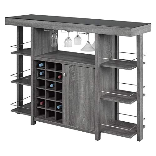 Brassex Bar Cabinet with Smoked Glass Top in Grey