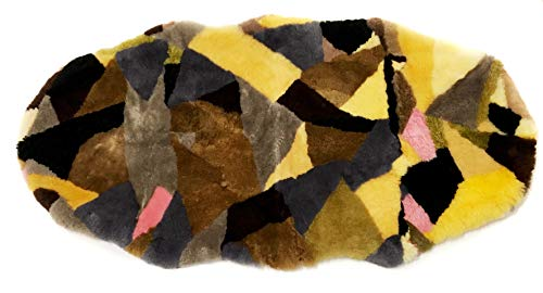 Shearling Multi-Color Pieced Super Soft Luxury Rug 60x120cm - Natural Fur Lambskin Stylish Accent Throw