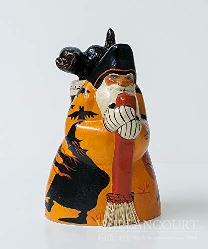 Vaillancourt Folk Art Halloween Santa with Silhouettes -