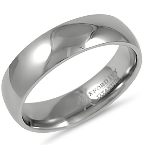 6mm Mens Comfort Fit Titanium Plain Wedding Band ( Available Ring Sizes 7-12 1/2) sz 10.5