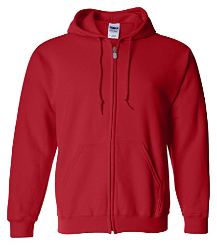 (Gildan Heavy Blend Adult Full Zip Hooded Sweatshirt (Red) (S))