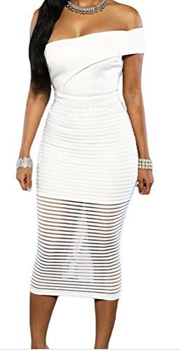 FQHOME Womens White Single Shoulder Sheer Striped Midi Dress Size M