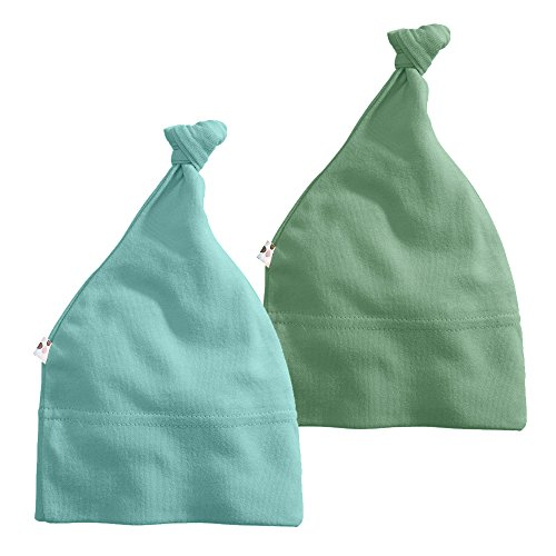 Babysoy Modern Knot Beanie Hat Pack of 2 (0-6 Months, Dragon + Harbor)