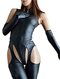 Velius Women's Sexy Leather Zipper Crotchless Cosplay Bodysuit Lingerie Clubwear