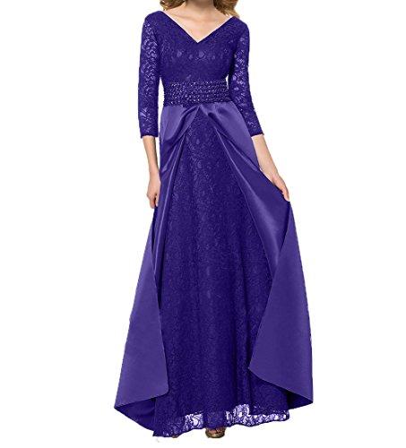 Ballkleider Damen Brautmutterkleider Spitze Partykleider Langarm Lila Charmant Festlichkleider Etuikleider Schleppe Abendkleider mit 7AwRxnq
