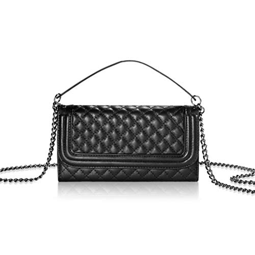 Iphone 6s Plus Crossbody Wallet Case with Luxury PU leather Folding Cover Card Holder Little Cosmetic Mirror and Chain Strap (6P Black) ()