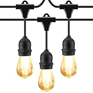 Cymas Outdoor String Lights, 49Ft LED Weatherproof Connectable String Lights 15 E26 Edison Vintage Bulbs Energy Saving Lights for Porch Deck Bistro Patio Garden Party UL Listed