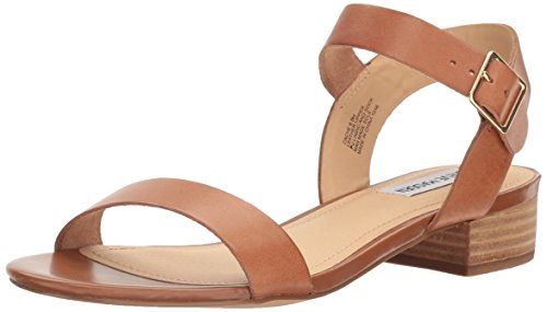 Steve Madden Women's Cache Flat Sandal, Cognac Leather, 7.5 M US (Sandals Brown Leather)