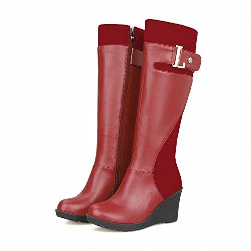 Schouder Dames Comfort Mode Eenvoudige Gesp Ritssluiting Sleehak Knielengte Hoge Laarzen Rood