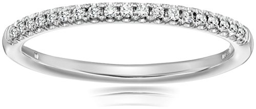10k White Gold and Diamond Prong Anniversary Ring (1/10 cttw, I J Color, I3 Clarity)