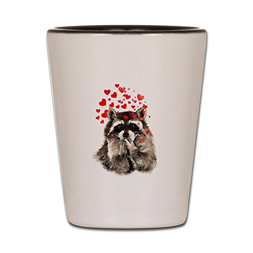 CafePress - Raccoon Blowing Kisses Cute Animal Love - Shot Glass, Unique and Funny Shot Glass