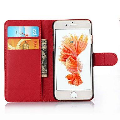 Fundas y estuches para teléfonos móviles, 7 para el iphone de lujo cubierta de la caja de la PU del leahter billetera funda para iPhone 6s 6 más ( Color : Rojo , Modelos Compatibles : IPhone 8 Plus )