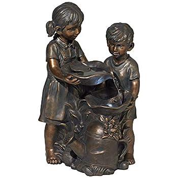 "John Timberland Boy and Girl Indoor/Outdoor Bronze 23"" High Fountain"