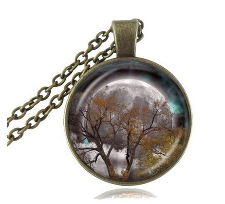 Autumn Equinox Necklace Tree Pendant Harvest Moon Jewelry Glass Cabochon Pendant Antique Bronze Chain