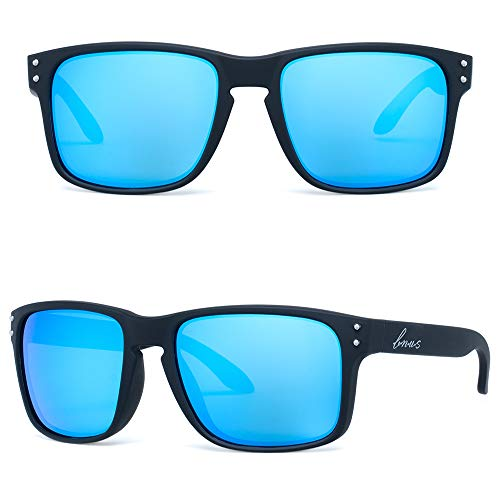 B.N.U.S eyewear Shades fashion blue glass lenses for Men and Women (Black Rubber/Blue Flash, Non-Polarized ()